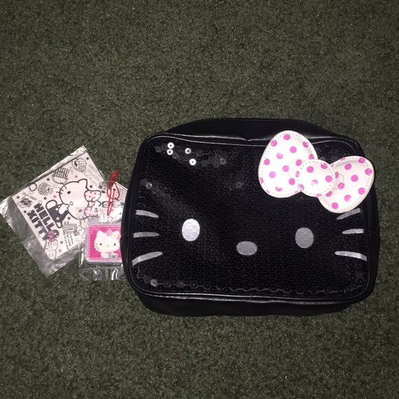 Hello Kitty Sequin Cosmetics   Makeup Pouch Bag 1ae1004695605